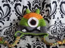 crocheted monster baby hat