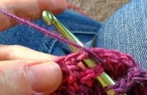 Insert hook in stitch below the ch 2 sp