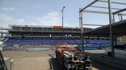 Stands for the Grand Prix under construction.