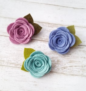 Small Felt Flower Hair Clips for Girls