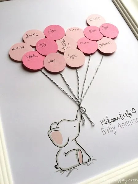 Free Baby shower guest book printable. Elephant with balloons free printable guest book for a baby shower