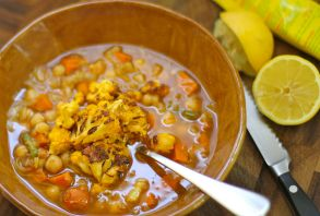 refrigerator soup with roasted cauliflower