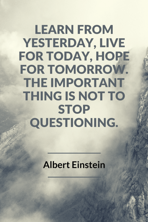 Albert Einstein Quotes - Learn from yesterday, live for today, hope for tomorrow. The important thing is not to stop questioning