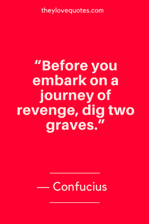 Confucius Quotes Born September 28, 551 BC - Before you embark on a journey of revenge, dig two graves.