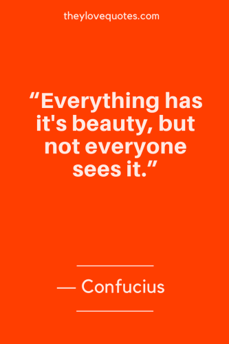 Confucius Quotes Born September 28, 551 BC - Everything has its beauty, but not everyone sees it.