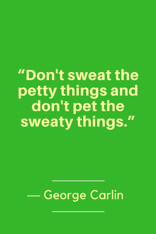 George Carlin Quotes Born May 12, 1937 - Don't sweat the petty things and don't pet the sweaty things.