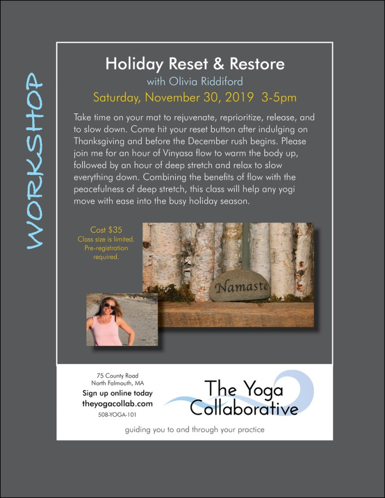 Holiday Reset and Restore workshop with Olivia Riddiford