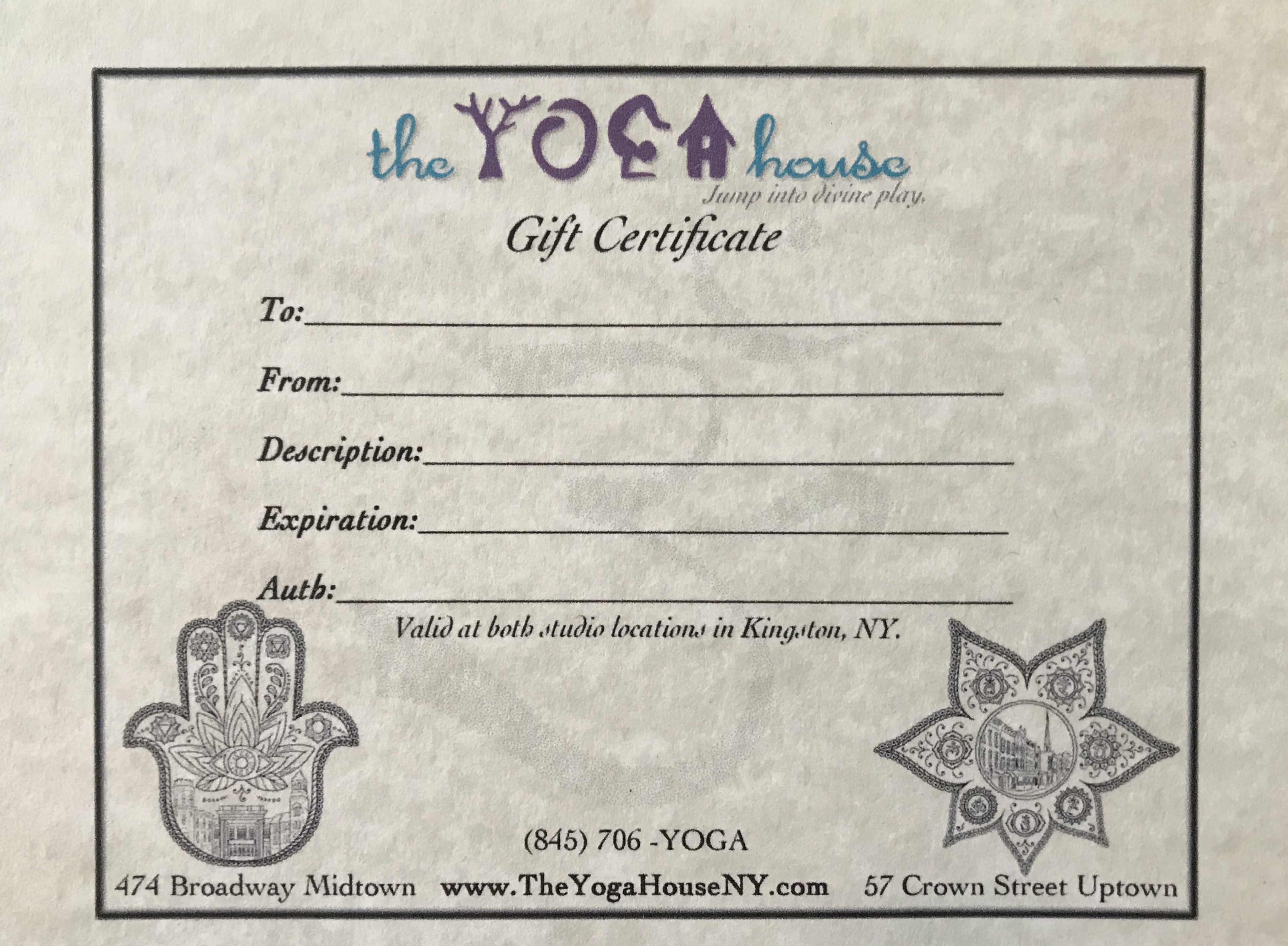 Gift Certificates The Yoga House