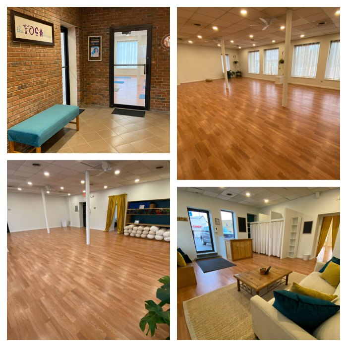 A walk through the new yoga house studio space with hardwood floors and large windows