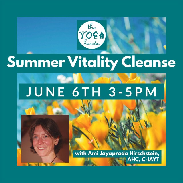 Flowers set against a teal background to announce a summer vitality cleanse yoga class