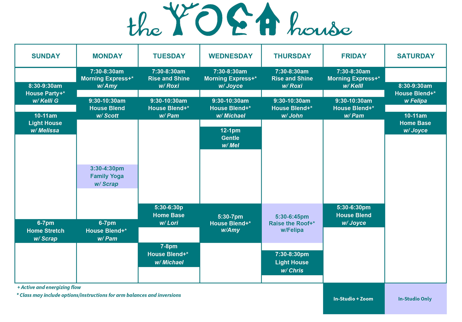 The yoga house schedule for october 2021