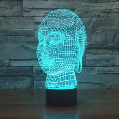 3D Buddha Head LED Lamp Hologram