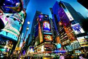 Iconic Buildings At Time Square New York