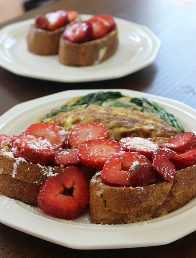 strawberry french toast with an omelette