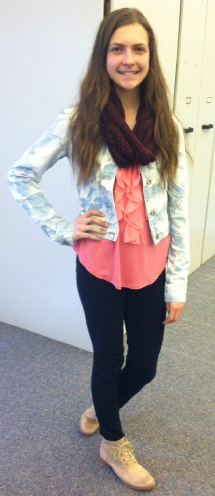 jean jacket with infinity scarf and pink tank