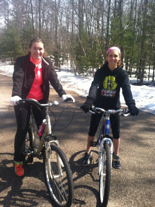 leigha and taylor riding bikes
