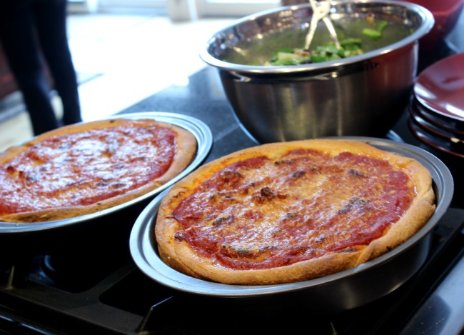 pizzas and salad