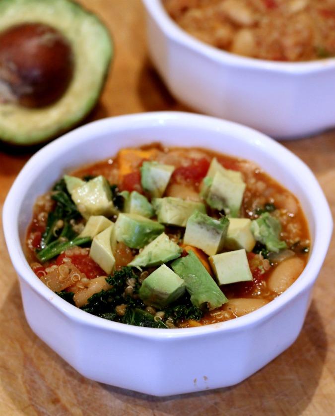 quinoa sweet potato kale chili with avocado
