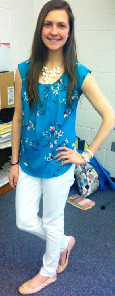 blue patterned shirt white pants pink flats