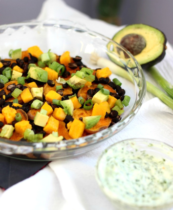 Black Bean Mango Sweet Potato Nachos with Avocado