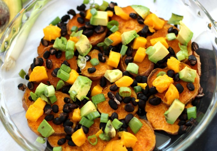 Healthy Black Bean Mango Sweet Potato Nachos