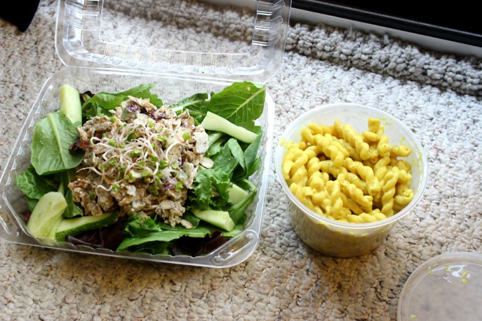 takeout from Frisch - vegan chikn salad and mac & cheese