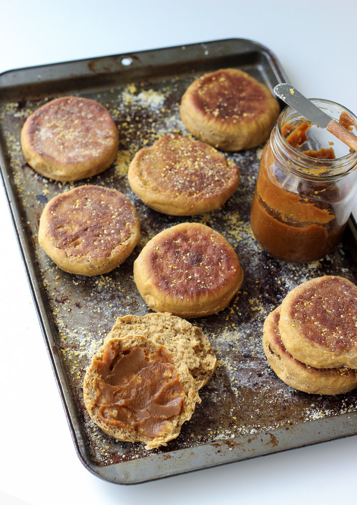 Vegan Pumpkin Pie English Muffins. They taste just as good as the ones at the store, and you know every ingredient that's in them!