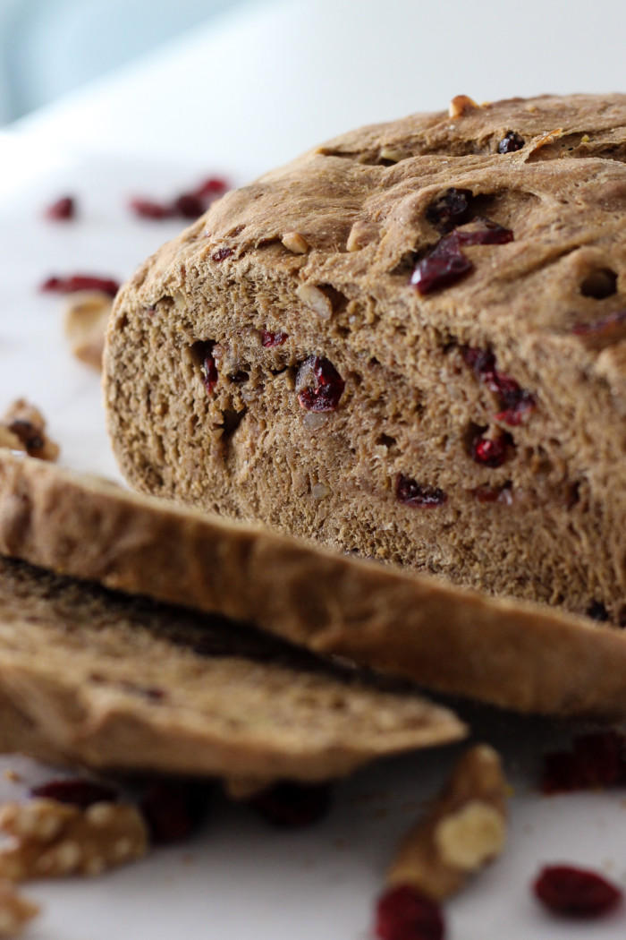 Whole Wheat Cranberry Walnut Bread (vegan!) made with Red Star Yeast-4