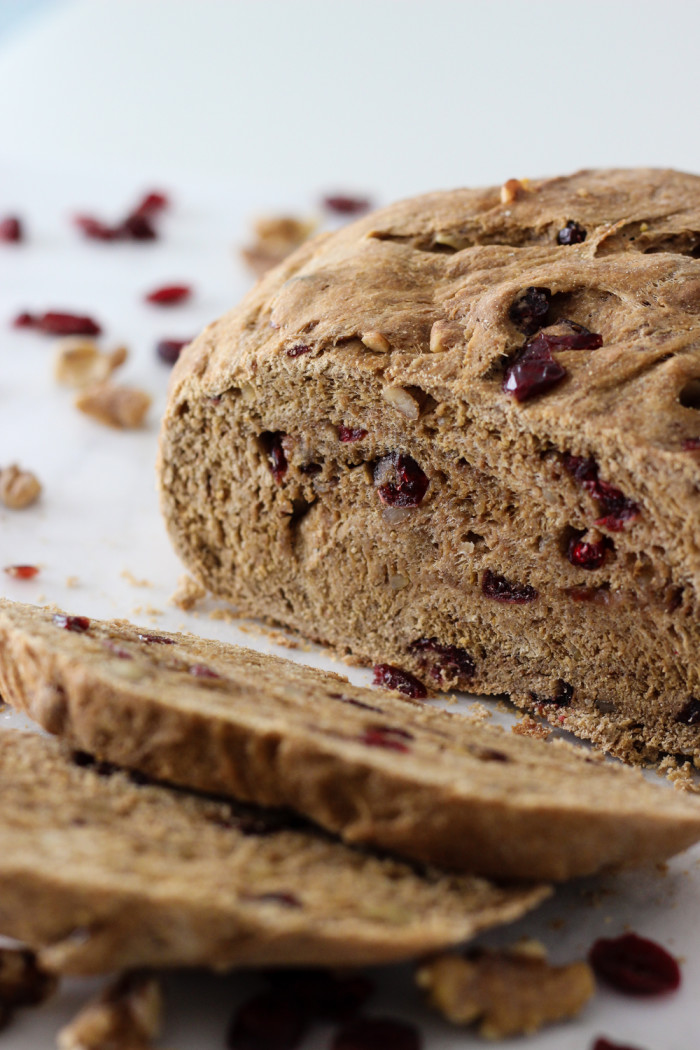 Whole Wheat Cranberry Walnut Bread (vegan!) made with Red Star Yeast-7