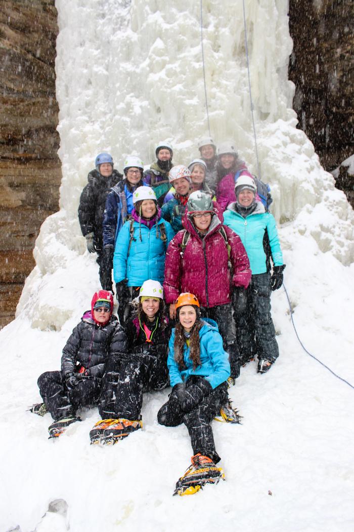 ice climbing group waterfall