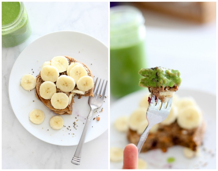 pancake green smoothie collage