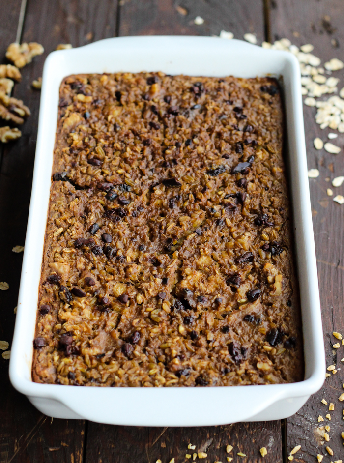 Oatmeal Freekeh Breakfast Bake with walnuts, cacao nibs, and raisins