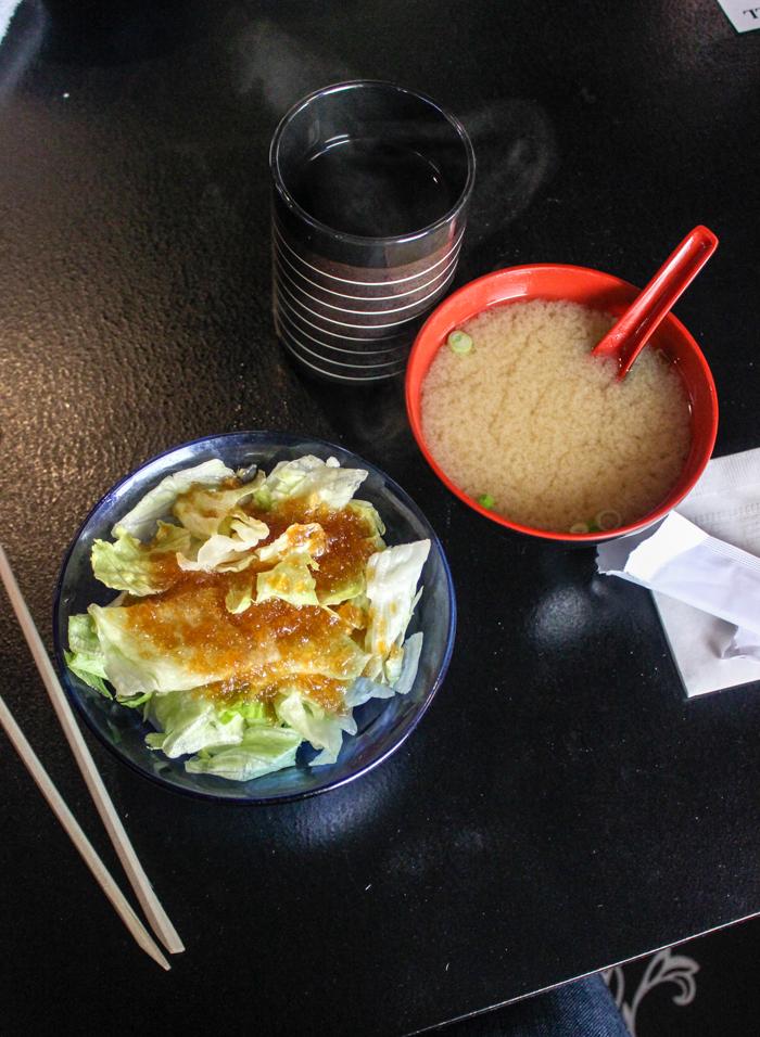 salad miso soup green tea