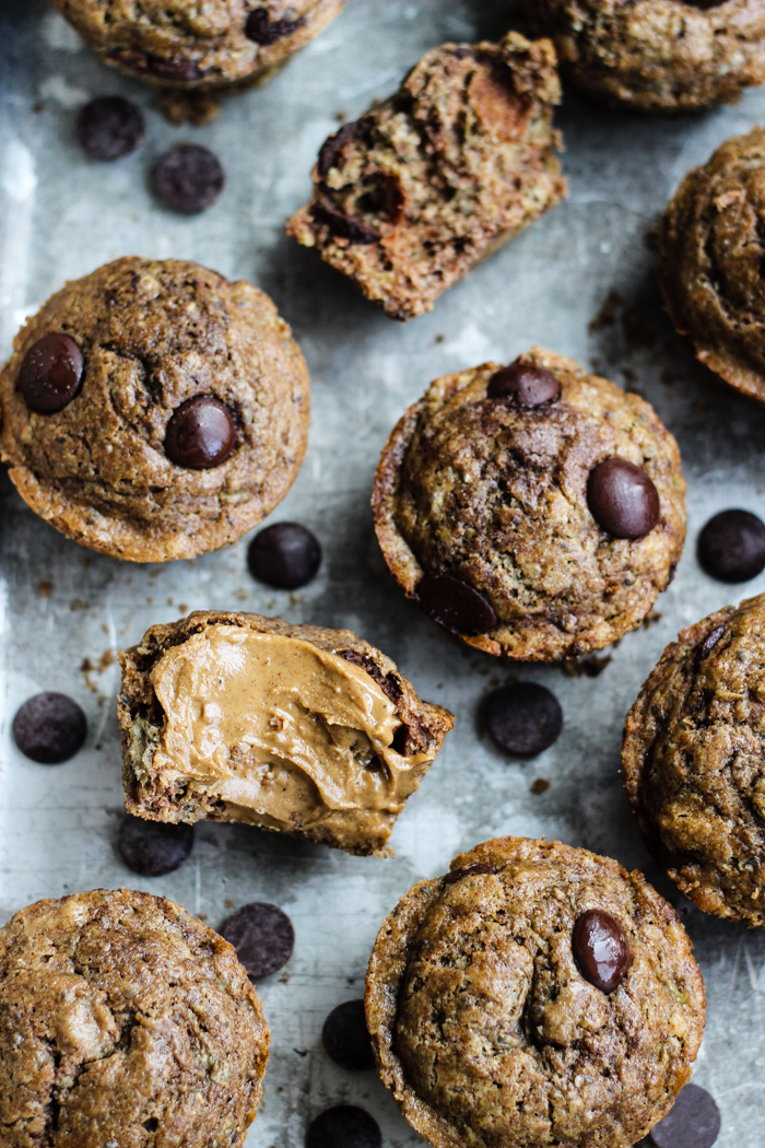 Zucchini Spelt Muffins with Peanut Butter