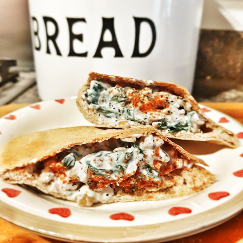 spinach and yoghurt filled pittas bread