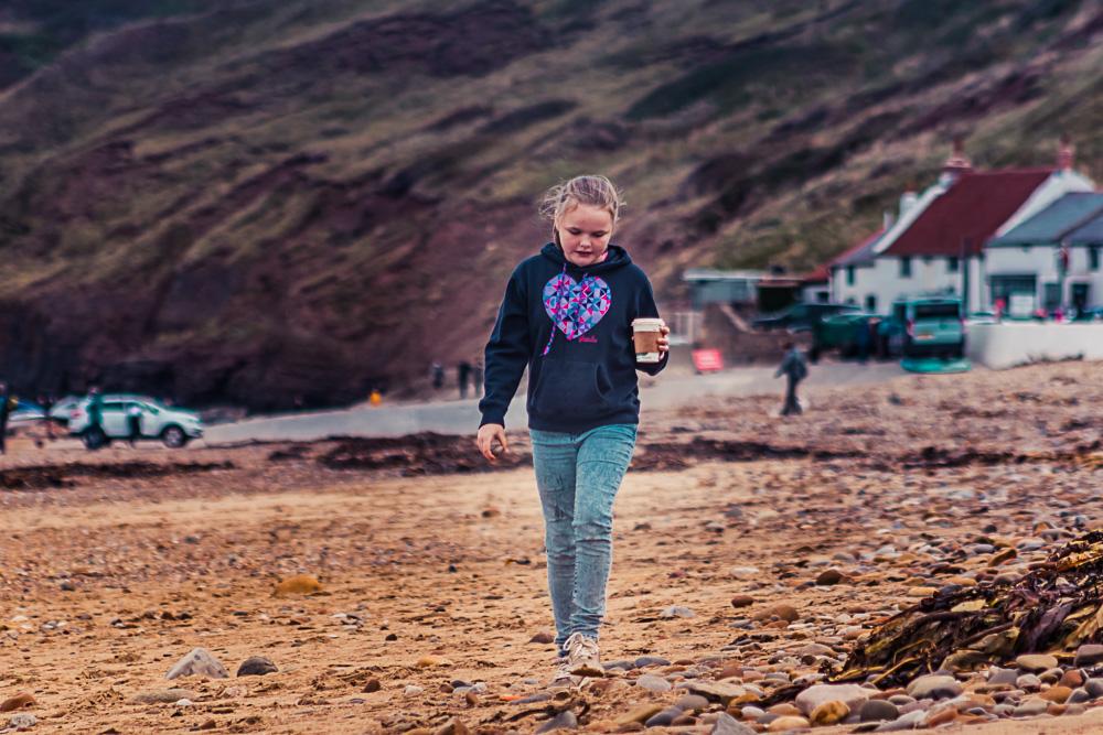 Saltburn-by-the-Sea beach girl hot chocolate
