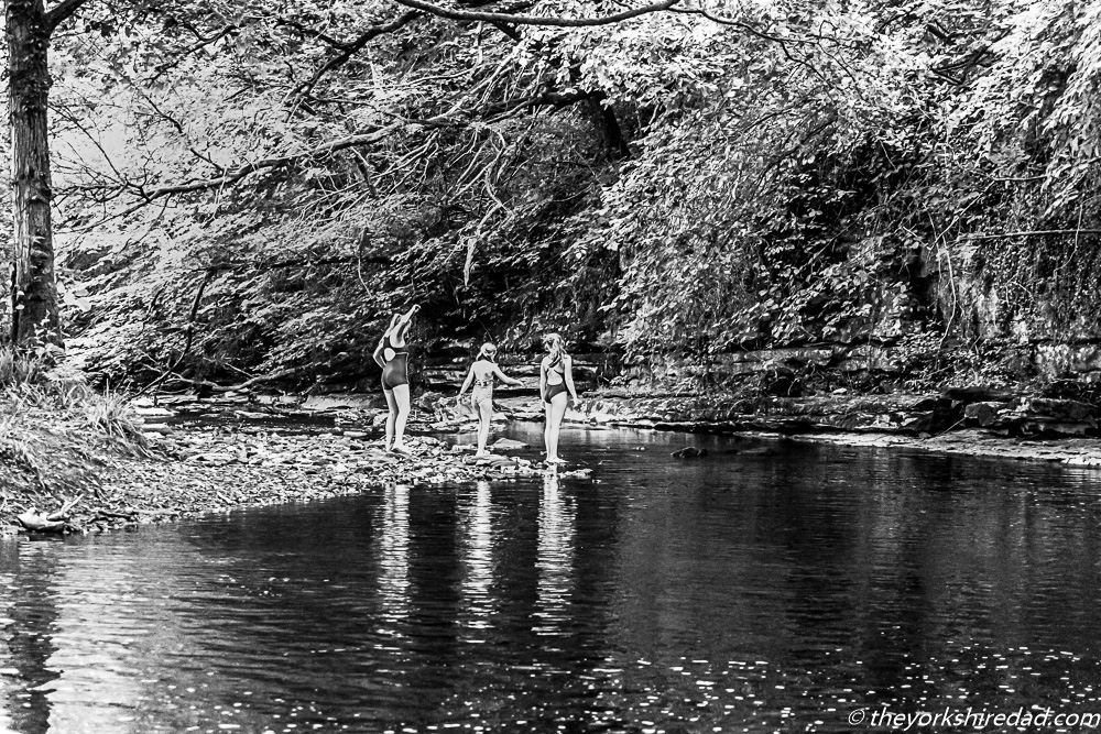 Playing in the river in Monochrome | The Yorkshire Dad of 4