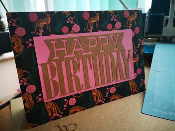 Handmade card with Happy birthday on the front with tigers