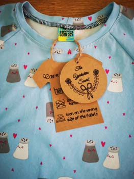 Handmade tags with The Yorkshire Sewist Logo