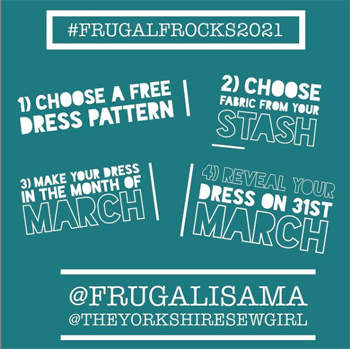 March Frugal Frocks Challenge Banner on Teal background with white writing