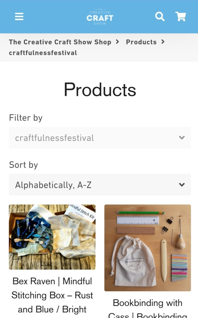 Screenshot of The Creative Craft Show Shop showing Project Kits