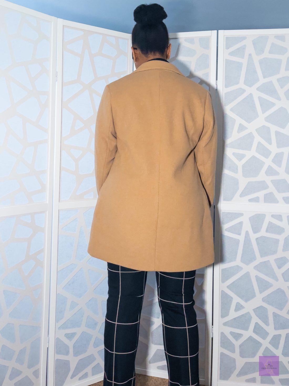 Back of Abercrombie camel wool-blend blazer coat
