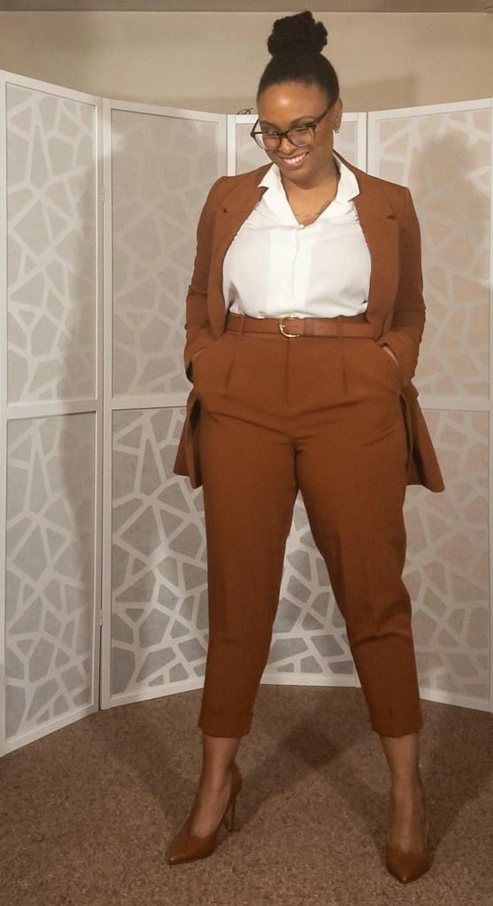 Cognac Suit-1 Suit: Banana Republic Factory Store [sold out] Shirt: Uniqlo Shoes: Nine West