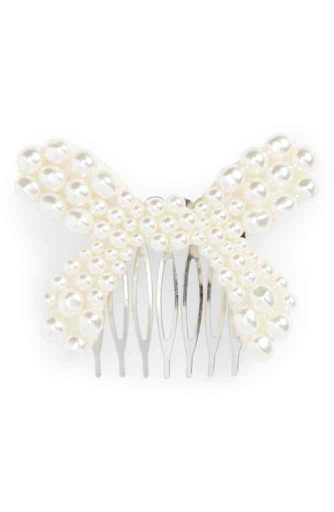 pearl bow hair pin accessories comb cute quirky romantic vintage sweet valentine's day nordstrom fashion style