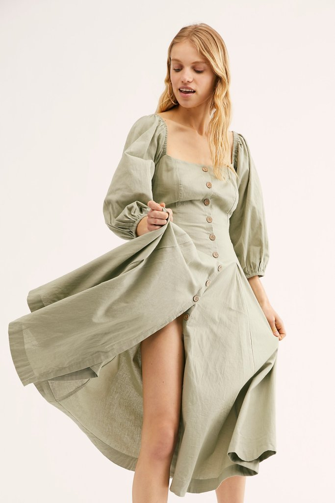 7a8754a2c570 free people jayma midi dress puff sleeves spring 2019 prairie cute fashion  style the young eclectic