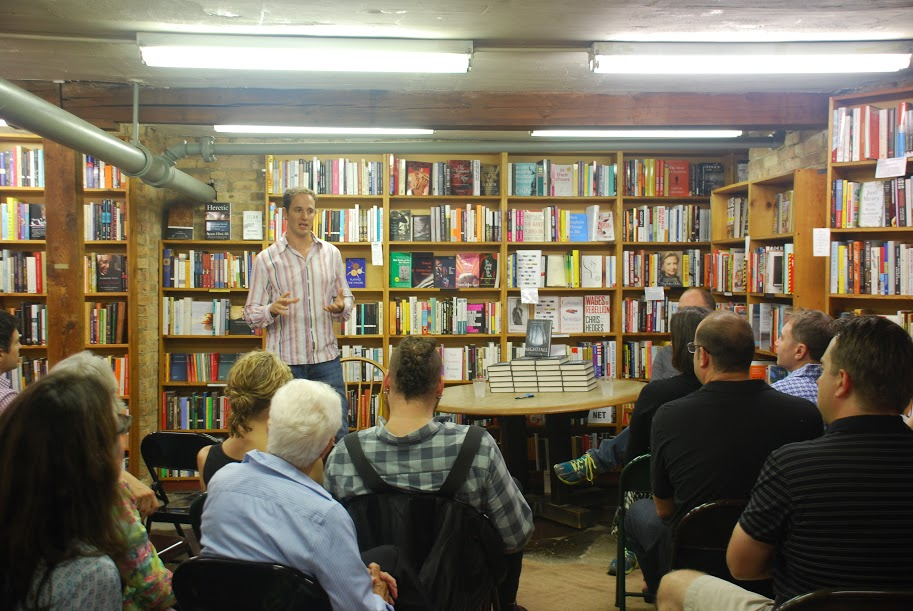 Jake Halpern discusses Nightfall at the book launch event at 57th Street Books in Chicago, IL. Photo Credit: Amanda Trevino