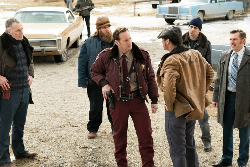 FARGO -- ÒThe Myth of SisyphusÓ -- Episode 203 (Airs October 26, 10:00 pm e/p) Pictured: (l-r, front-row) Patrick Wilson as Lou Solverson, Jeffrey Donovan as Dodd Gerhardt, Keir O'Donnell as Ben Schmidt. CR: Chris Large/FX