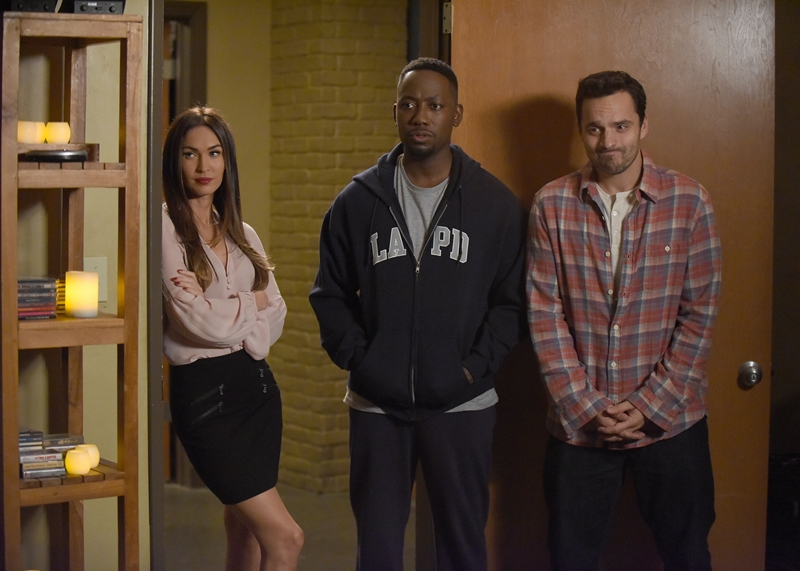 """NEW GIRL: L-R: Guest star Megan Fox, Lamorne Morris and Jake Johnson in the """"Reagan"""" episode of NEW GIRL airing Tuesday, Feb. 9 (8:00-8:30 PM ET/PT) on FOX. ©2016 Fox Broadcasting Co. Cr: Ray Mickshaw/FOX"""