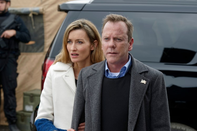 """DESIGNATED SURVIVOR - """"""""The First Day"""" - Hours after the attack on the Capitol, President Kirkman steps into his role as Commander-in-Chief in the midst of chaos and confusion. Facing dangerous new challenges and adversaries, Kirman struggles to hold a country together that is on the brink of falling apart. Virginia Madsen guest stars on the highly anticipated ABC series """"Designated Survivor,"""" WEDNESDAY, SEPTEMBER 28 (10:00-11:00 p.m. EDT). (ABC/Ben Mark Holzberg) NATASCHA MCELHONE, KIEFER SUTHERLAND"""