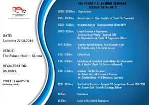 YFA Annual Seminar 2016-2017 - Saturday 27.08.2016